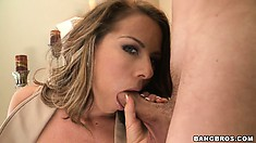 Nerdy secretary takes her glasses and all of a sudden is a cock sucking slut
