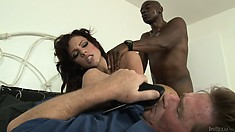 Cuckold sells his wife to the black Casanova and watches sher playing with black penis