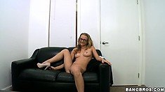 Slim geek undresses for the camera during a casting couch session
