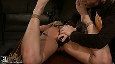 Mistress Kathia welcomes the new member of her torture room inside