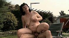 She licks his hairy ass, blows him and gets pounded, with cum on her belly