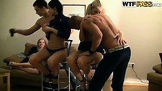 A group of college babes get together with some guys and excitement grows stronger