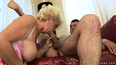 With her luscious lips and big tits she prepares that cock for her wild twat