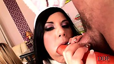 Crazy brunettes get busty with carrots and dicks, munching both