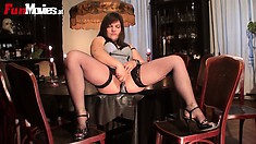 Pretty and bonny woman in stockings Viola bring son nice solo show