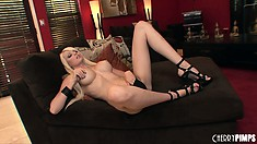 Stacked blonde babe Rikki Six uses a big black dildo to satisfy her wild sexual urges