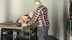 Fat bitch in a corset exposes her pussy at her master's request