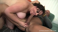 Massive fat bitch groans as her folds get penetrated by a big dick