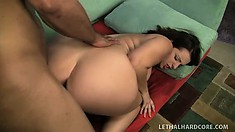 The stacked babe loves to bounce on his stiff prick and to get pumped hard from behind