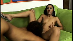 Two skinny black lesbians get their cunts dripping with grool