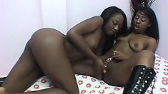 Black lesbian coed gets her legs in slut heels up for her GF