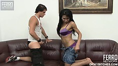 On the couch, the buxom shemale Ellen feeds her hungry ass Eduardo's big dick