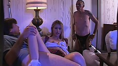 Lovely blonde tart gets down for a hard and deep double stuffing