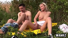 Amateur slender chick Danielle is fucked from behind outdoors