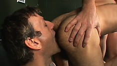 Handsome stud gets some easy money by banging two older dudes