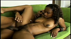 Her marvelous oiled up ebony booty shakes and jiggles as she rides that black dick