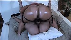 Big booty ebony lesbians do some nasty and hard pounding strapon action
