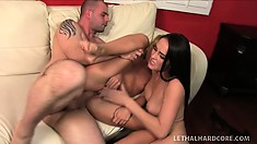 Alluring brunette with a spicy ass and a slender blonde with perky tits share a cock