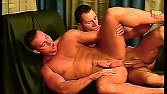 Two gay studs eating meat and sliding that meat up a tight ass
