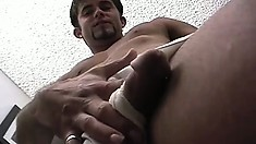 Hot stud shows off his great body and strokes his long dick until he cums