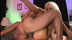 Anally-addicted fair-haired bitch is double-fucked by nasty lovers