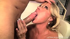 Hot blonde MILF Nikki Charm charms his cobra into her tight pussy basket