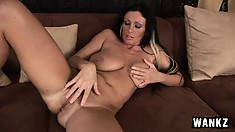 Stacked brunette milf with huge natural boobs Pandora needs to please her snatch