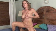 Horny cougar with big boobs Jade Jamison fucks a young guy's long cock