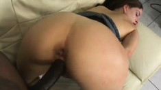 White whore Crissy sucks black penis and takes it right outside