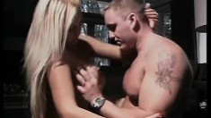 Cute Jenny Block swings her long blonde locks as she gets cocked