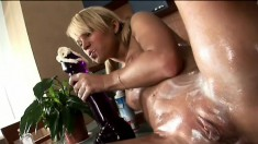 Sweet Michelle gets all creamed up in the kitchen and uses a huge dildo