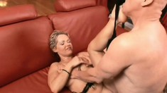 Luscious blonde housewife gets fucked by two studs and her man watches