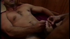 Unshaved dude stands on his knees, pleasures dude's cock and gets pounded