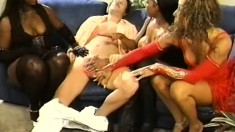 One lucky dude has three eager babes desperate to take his dick