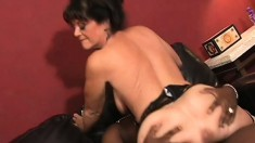 Horny white MILF in stockings takes it from a huge black cock