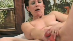 Horny wife fucks her own pussy and then gets fucked by a younger man