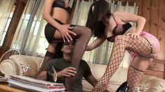 Nika Noire and Roxy Deville get fucked while wearing fishnets