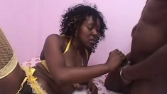 Super hairy black ginch in stockings gets lucky with black member