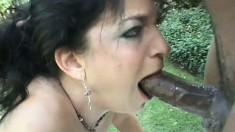 Lusty Kacie Hunt adores the taste of this black stud's stiff meat