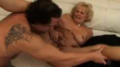 Big tit granny gets fingered then fucked and takes a load on the face