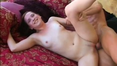 Slutty brunette Ashley Haze fucks a long dick and takes its juices in her mouth