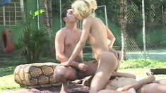 Alysha fucks her two guy friends with her tranny dick outdoors