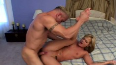 Blonde cocksucker gets fucked by a horny dude and begs for a creaming