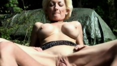 Mature whore Sally Implana enjoys the outdoors while getting pumped