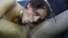 Busty shorthaired novice picked up for a ride and a quickie fuck on camera