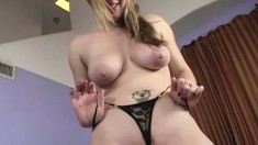 Desperate blonde gets naked and swallows a huge stiff sausage
