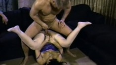 Ginni Lewis is a nasty MILF getting six guys off and cumming herself