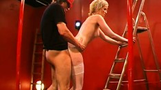 Two horny old fuckers shove it up a lovely blonde's tight ass