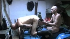 Lustful gay stud welcomes a huge black dildo in his hungry anal hole