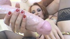 Redhead Tobi Pacific can't wait to shove her huge dildos up her twat